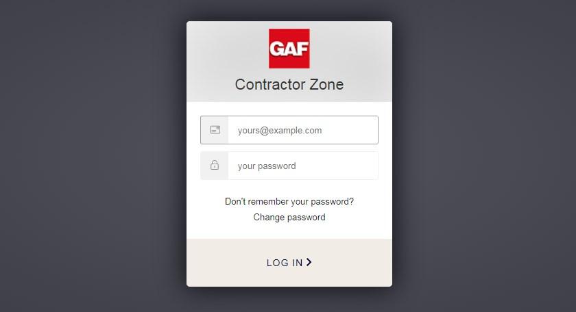 gaf contractor zone login